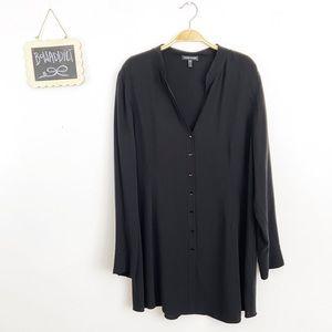 [Eileen Fisher] Black Silk Button Down Tunic Dress